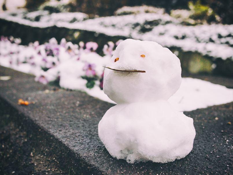 ちょっとだけ積もった雪で作った小さな雪だるま_R