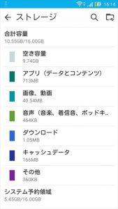 ASUS ZenFone Goの初期状態での内蔵ストレージの空き容量