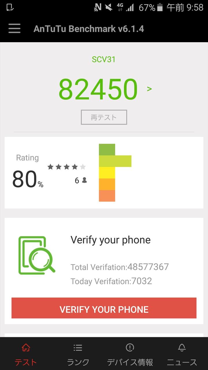 Android 6.0.1 Marshmallowにアップデートする前のGalaxy S6 edge SCV31のベンチマーク