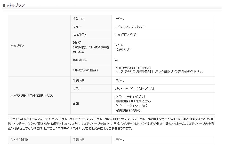 端末購入サポートを適用したドコモケータイの契約内容