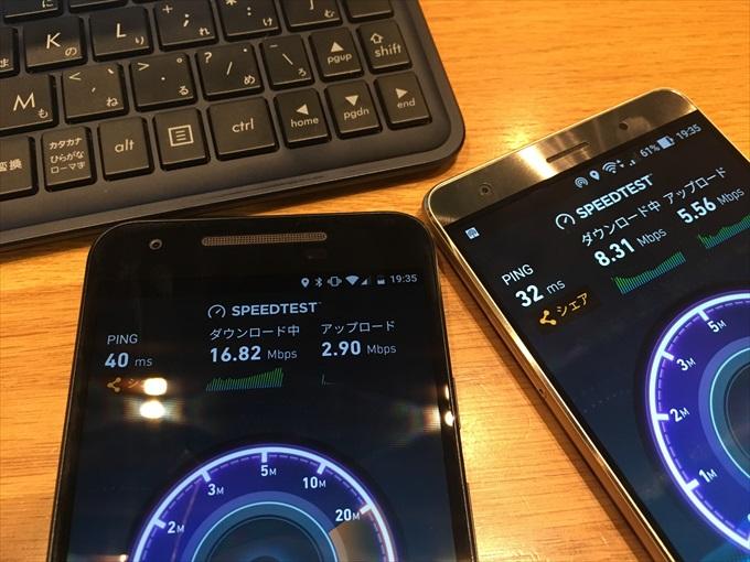 スピードテスト中のスマートフォン