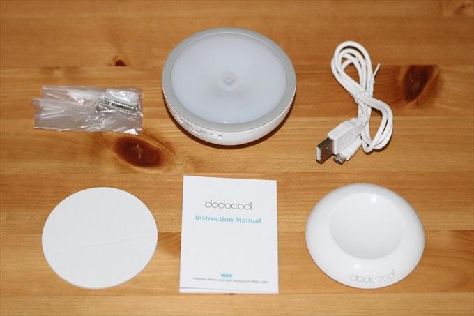 dodocoolのLEDセンサーライトの付属品