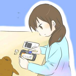 スマートフォンを修理中の女の子