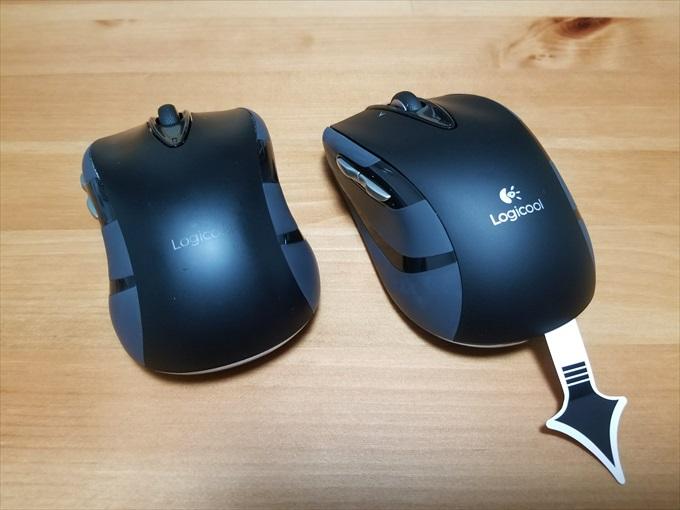 使い古したマウスと新品のマウス