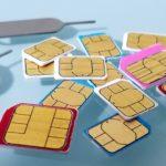 大量のSIMカードとSIMピン